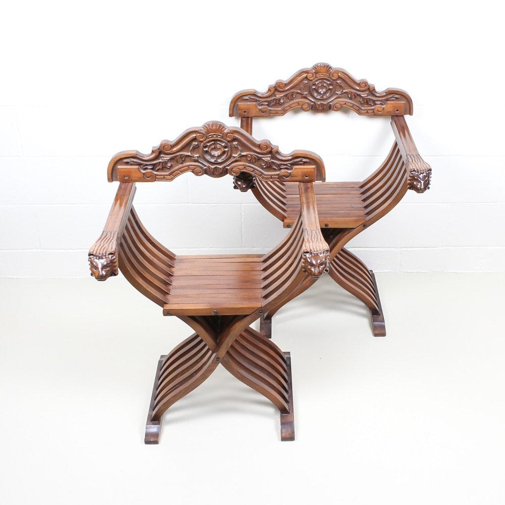 Pair of Vintage Italian Renaissance Revival Style Dante Chairs