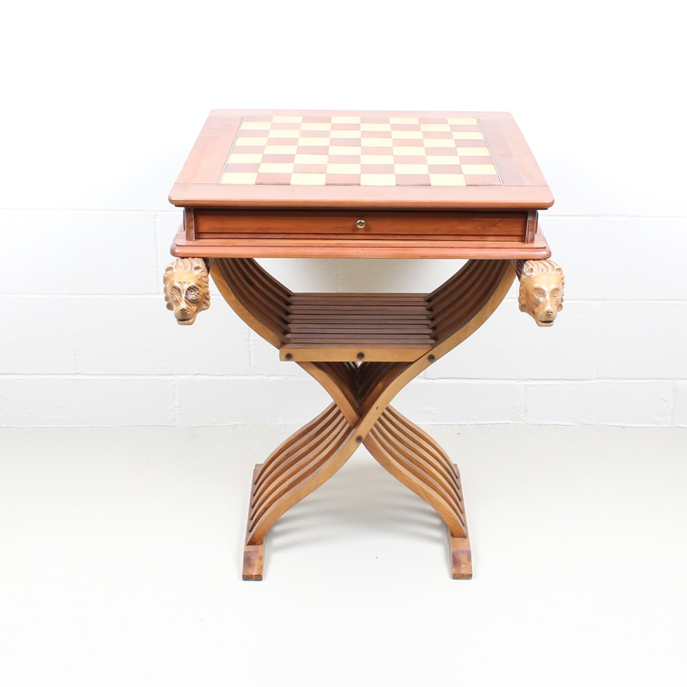 Vintage Chess Board and Carved Stand