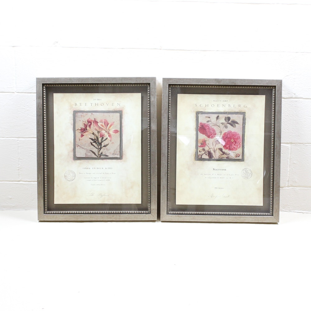 Set of Framed Classical Music and Floral Art Prints