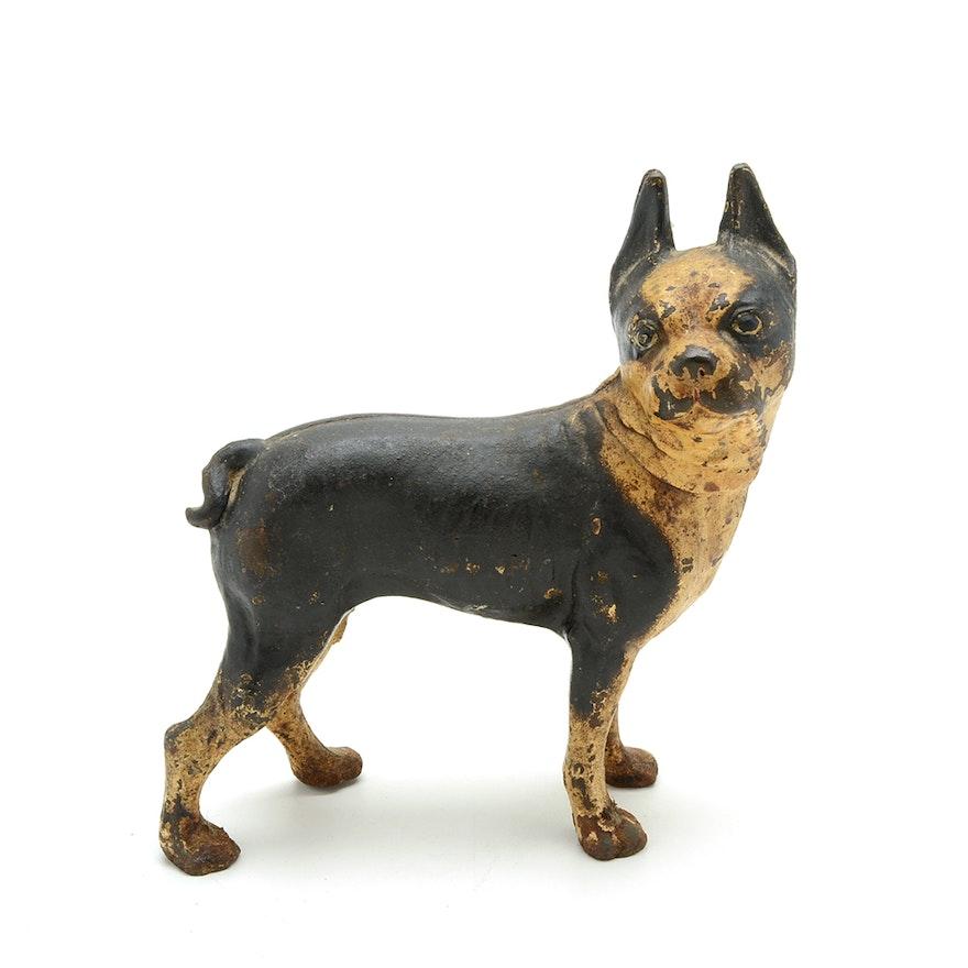 Antique Cast Iron Boston Terrier Door Stop Ebth