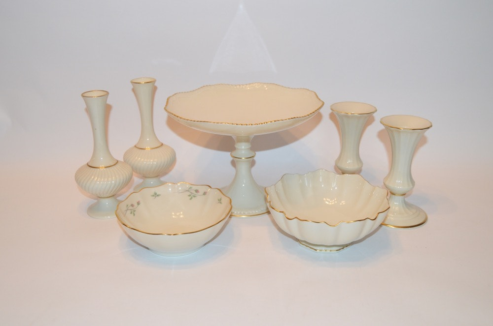 Lenox China Grouping in Ivory and Gold