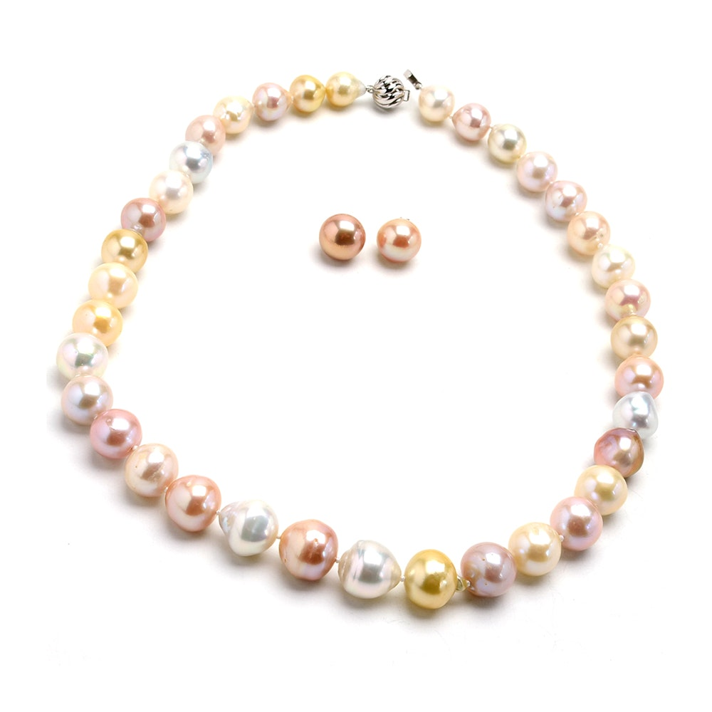 14K White Gold Dyed Freshwater Pearl Necklace and Earrings Set