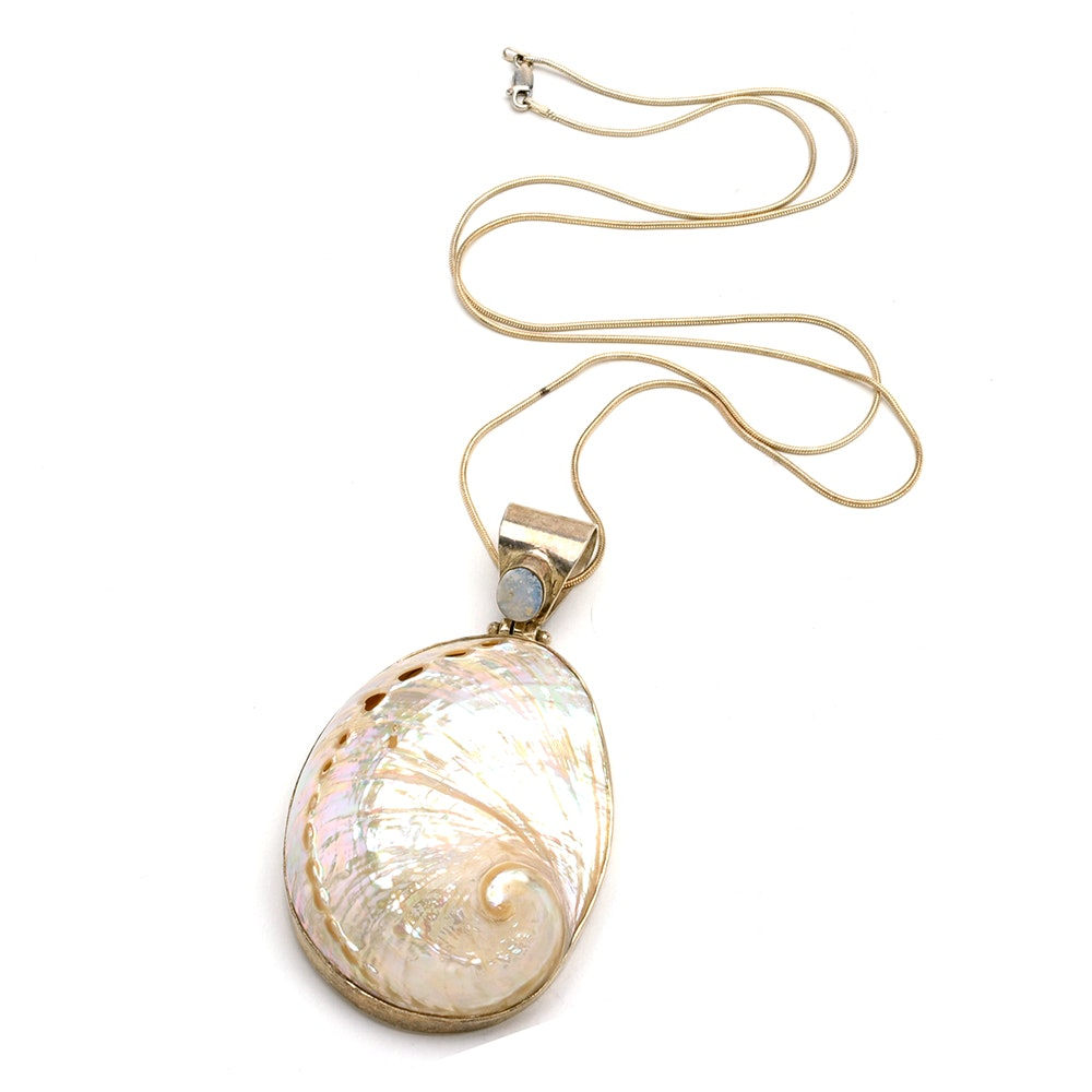 Sterling Silver Shell and Doublet Opal Statement Necklace