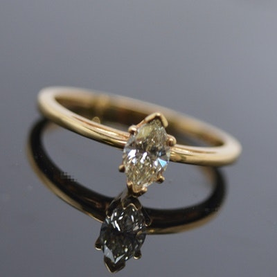 14K Yellow Gold Marquise Diamond Solitaire Ring