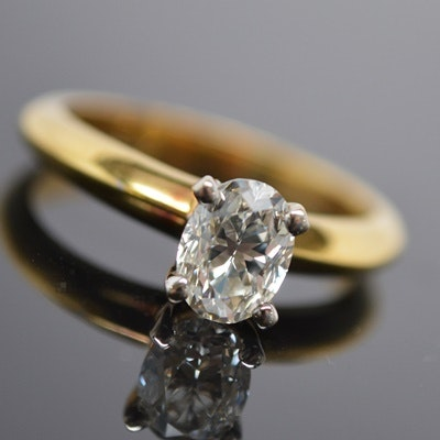 18K Yellow Gold Faceted Oval Diamond Solitaire Ring