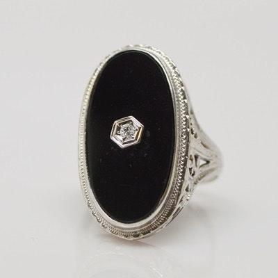 18K White Gold Onyx Tablet Ring