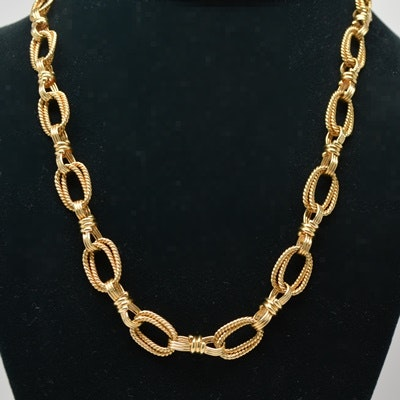 18K Yellow Gold Double Oval Link Necklace