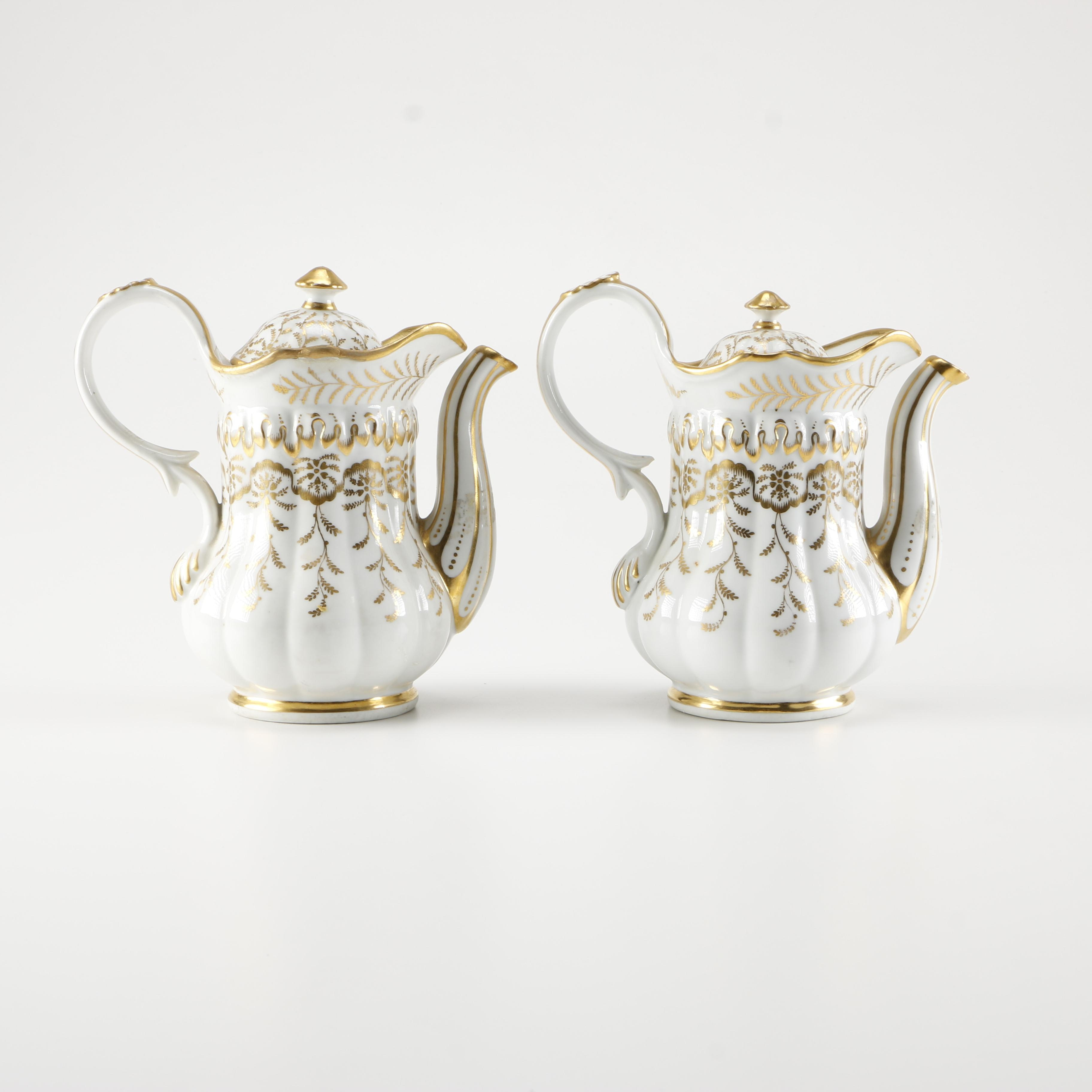 White and Gold Gilt Ceramic Coffee Pots