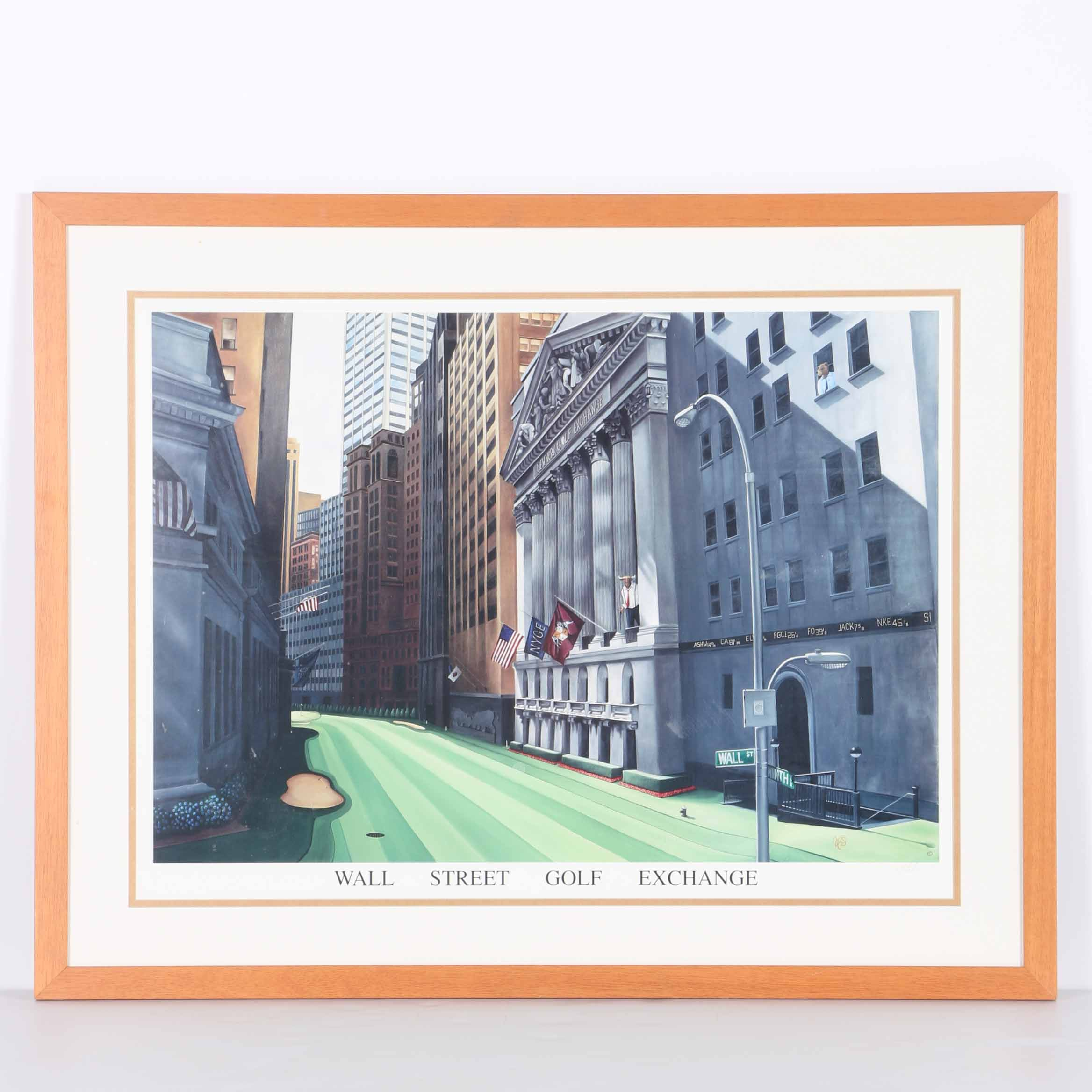"""V.Y. Scherr Signed Offset Lithograph """"Wall Street Golf Exchange"""""""