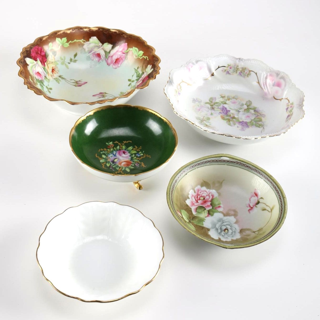 Collection of Floral Bowls Including Limoges