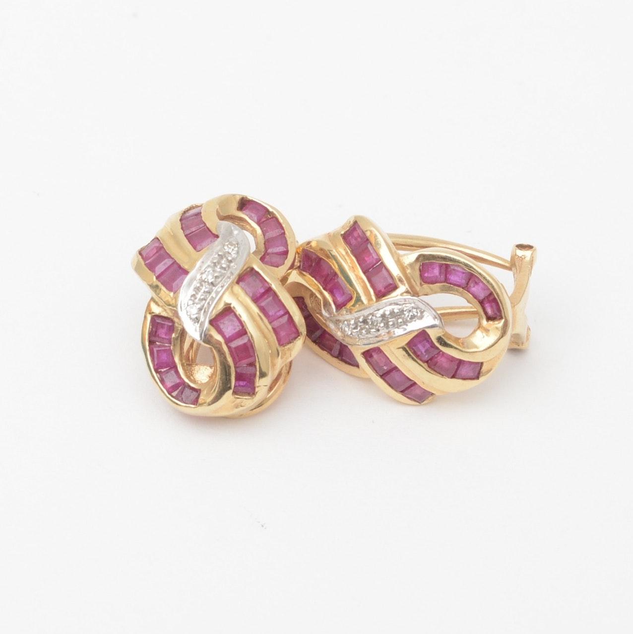Pair of 14K Ruby and Diamond Earrings