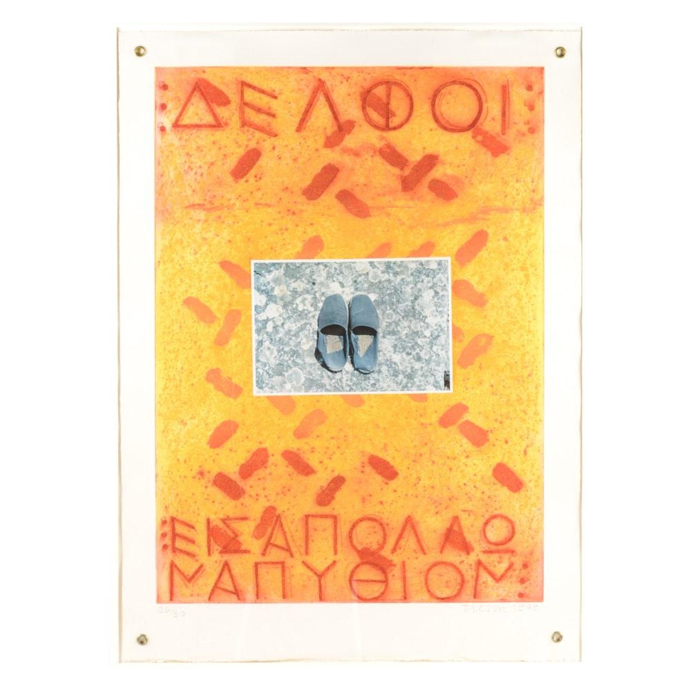 "Joe Tilson Etching, Aquatint and Collage ""Proscinemi, Delphi, 1979"""