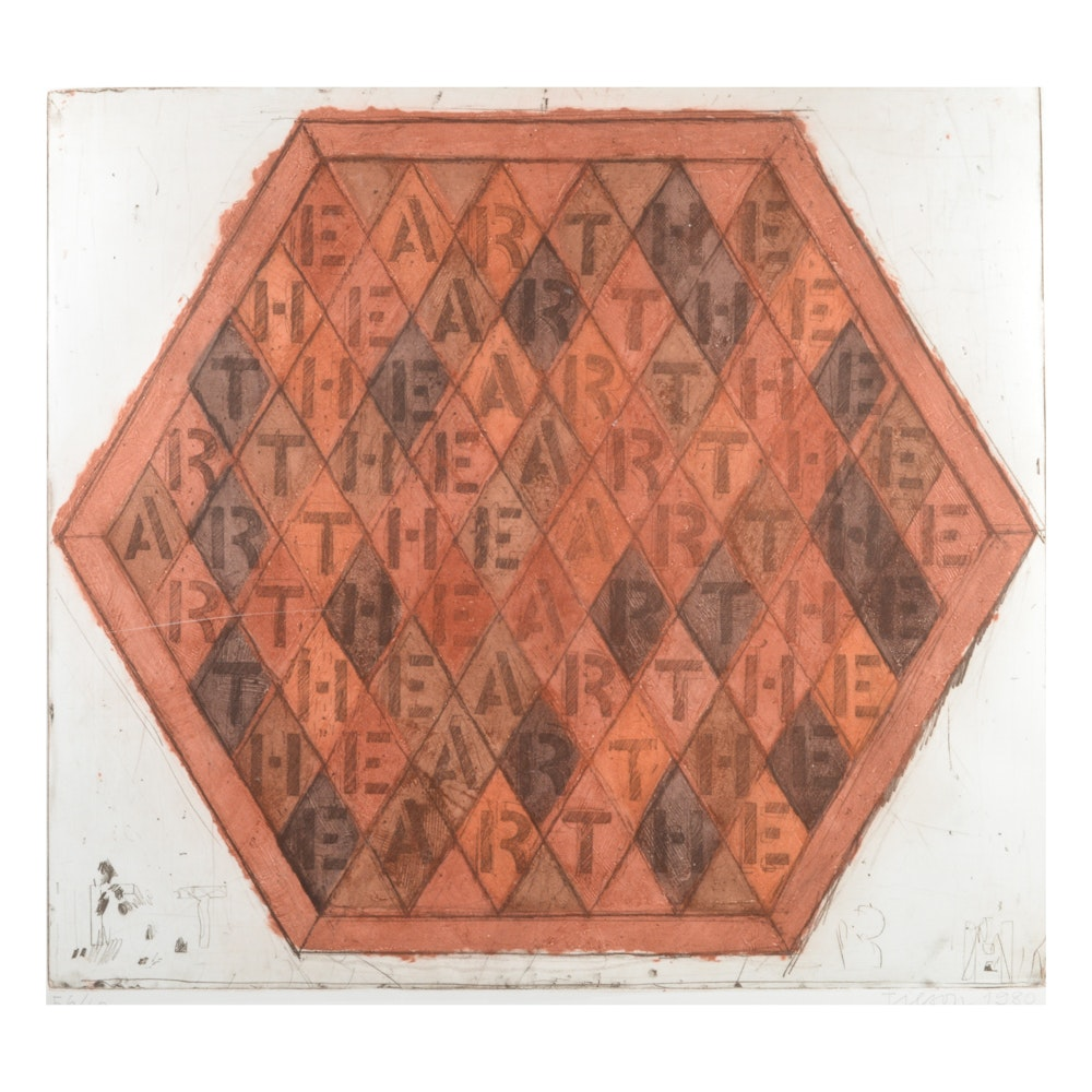 """Joe Tilson Limited Edition Etching and Color Aquatint """"Earth Earth"""""""