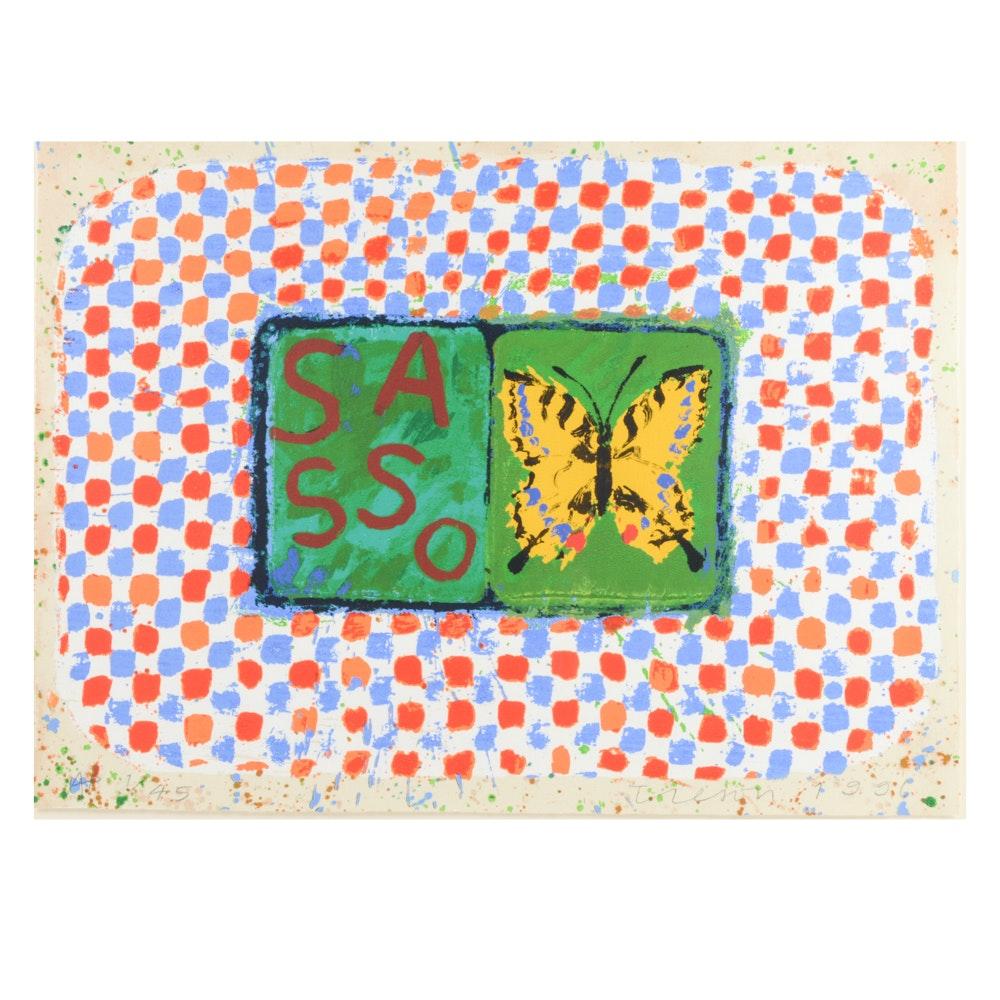 "Joe Tilson Artist Proof Screenprint with Woodblock  ""Conjunction, Swallowtail, Sesso """