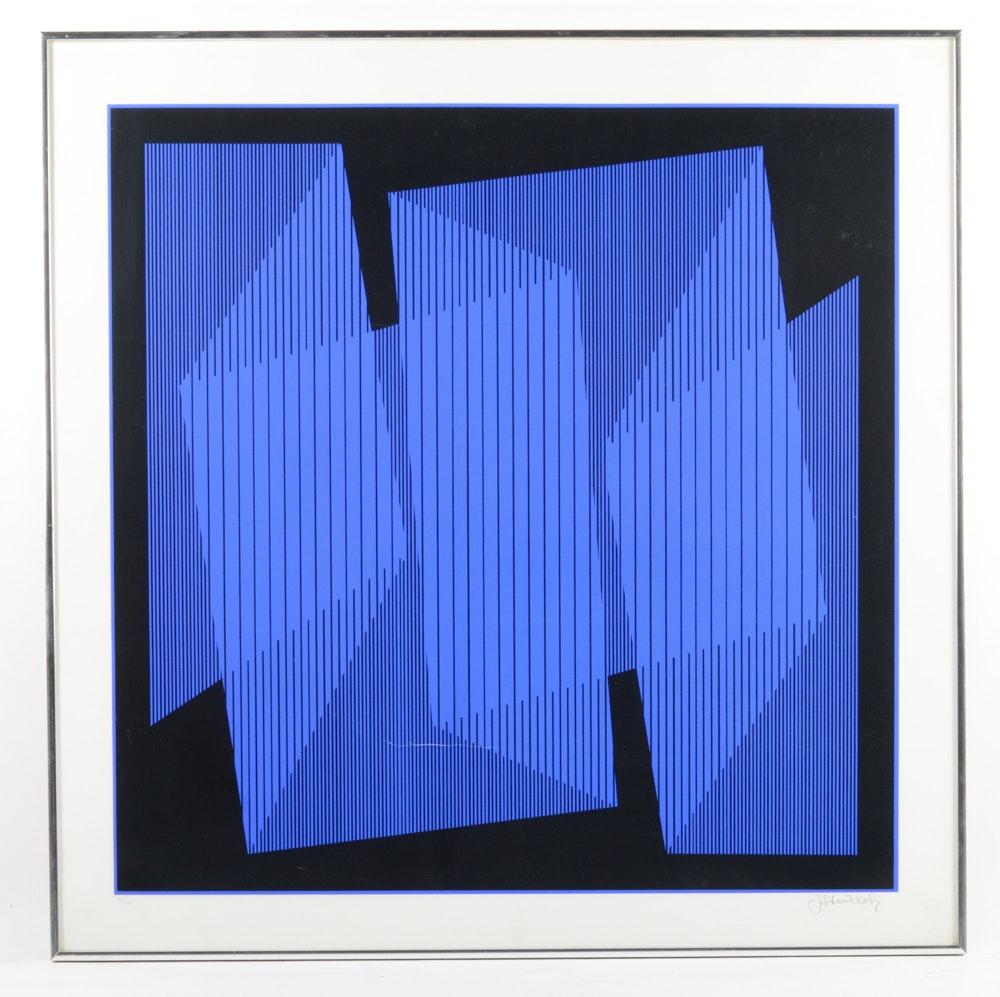 """Julian Stanczak Limited Edition Serigraph """"Blue Cutout Fold"""""""