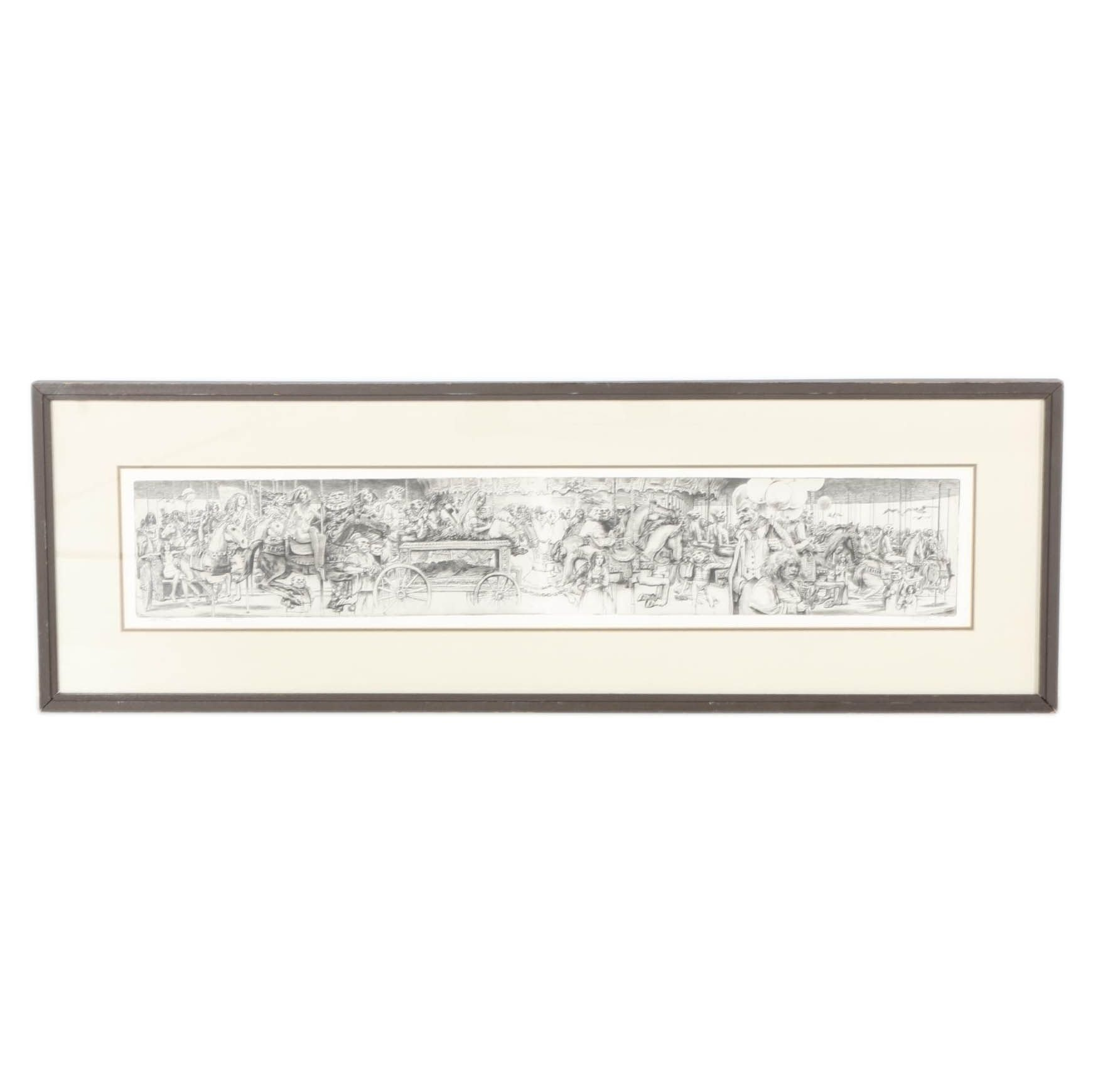 """Harbrough Limited Edition Etching """"Clown Funeral"""""""