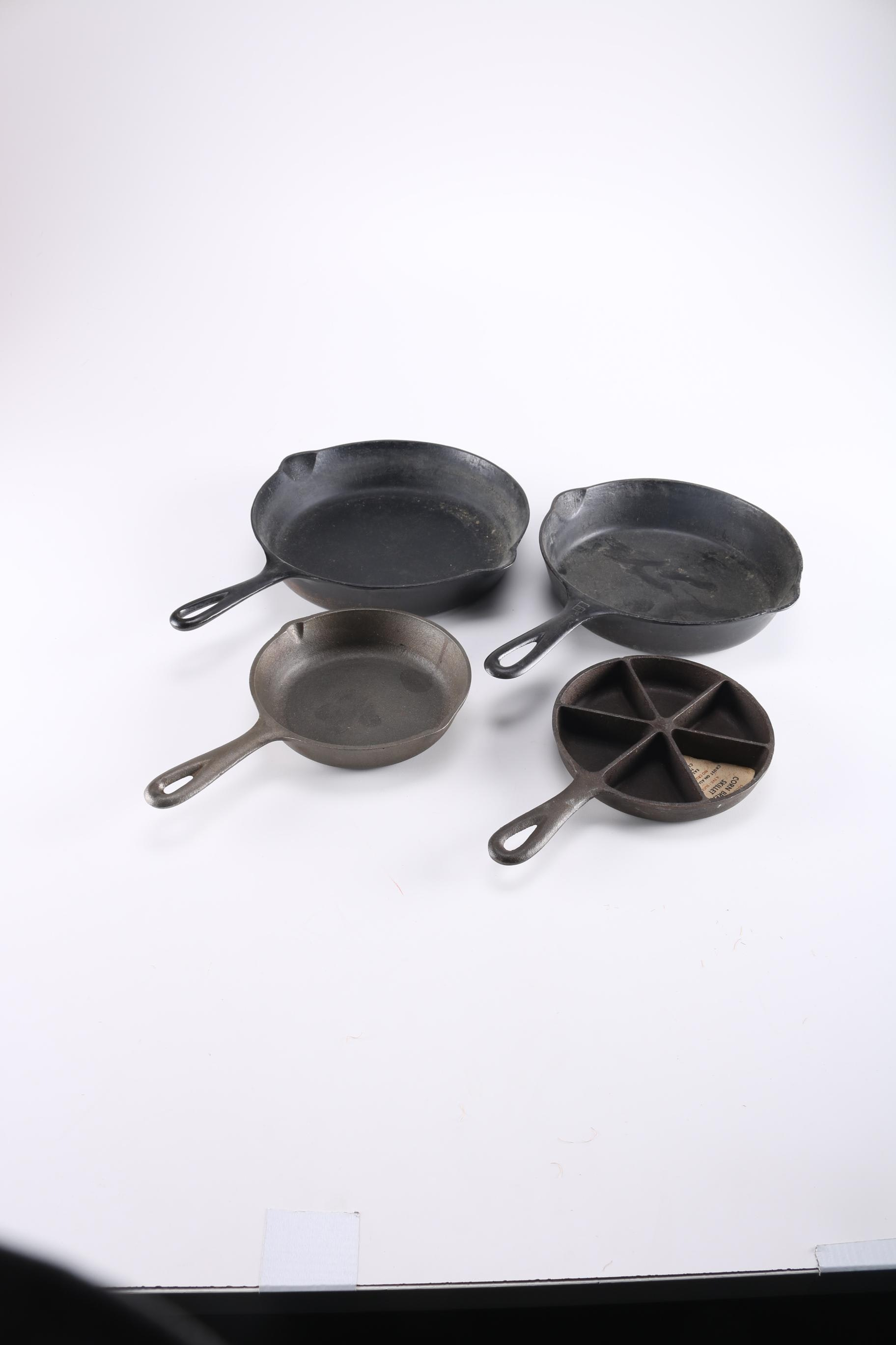 1930-39 Griswold #6 Cast Iron Skillet With a Cornbread Pan and More