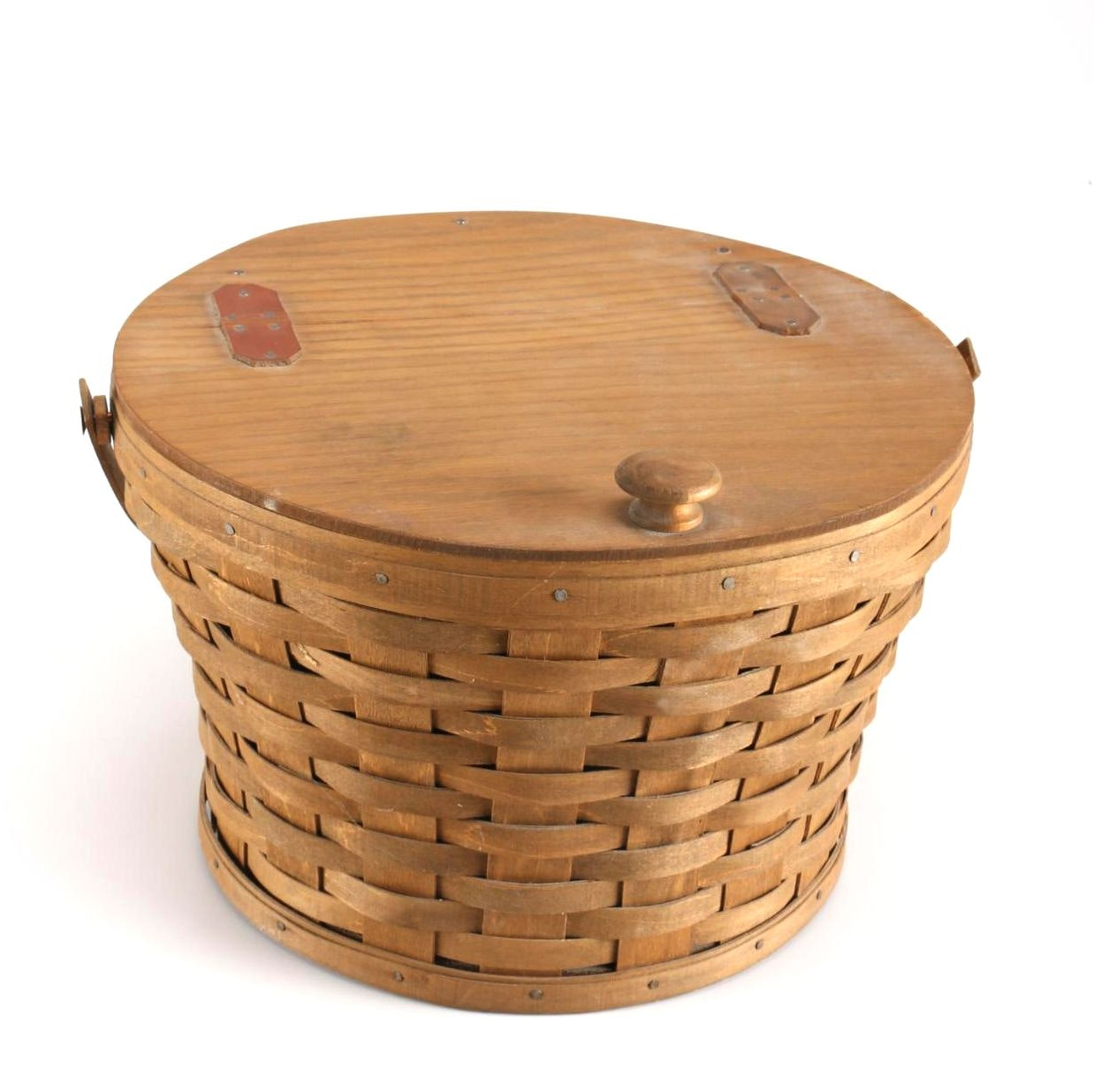 Longaberger Lidded Wooden Basket