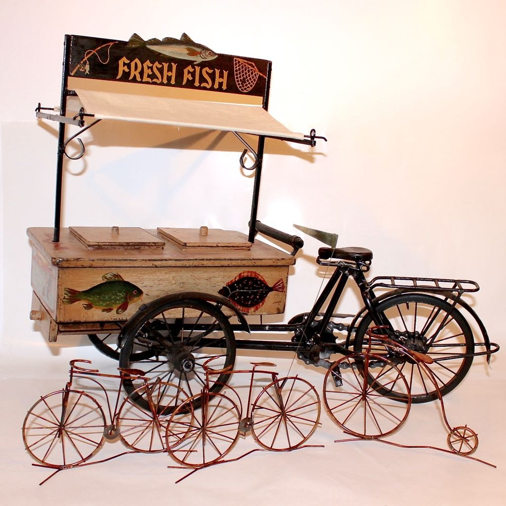 "Bicycle ""Fresh Fish"" Vendor Cart Decor Model and Wire Form Bicycles"