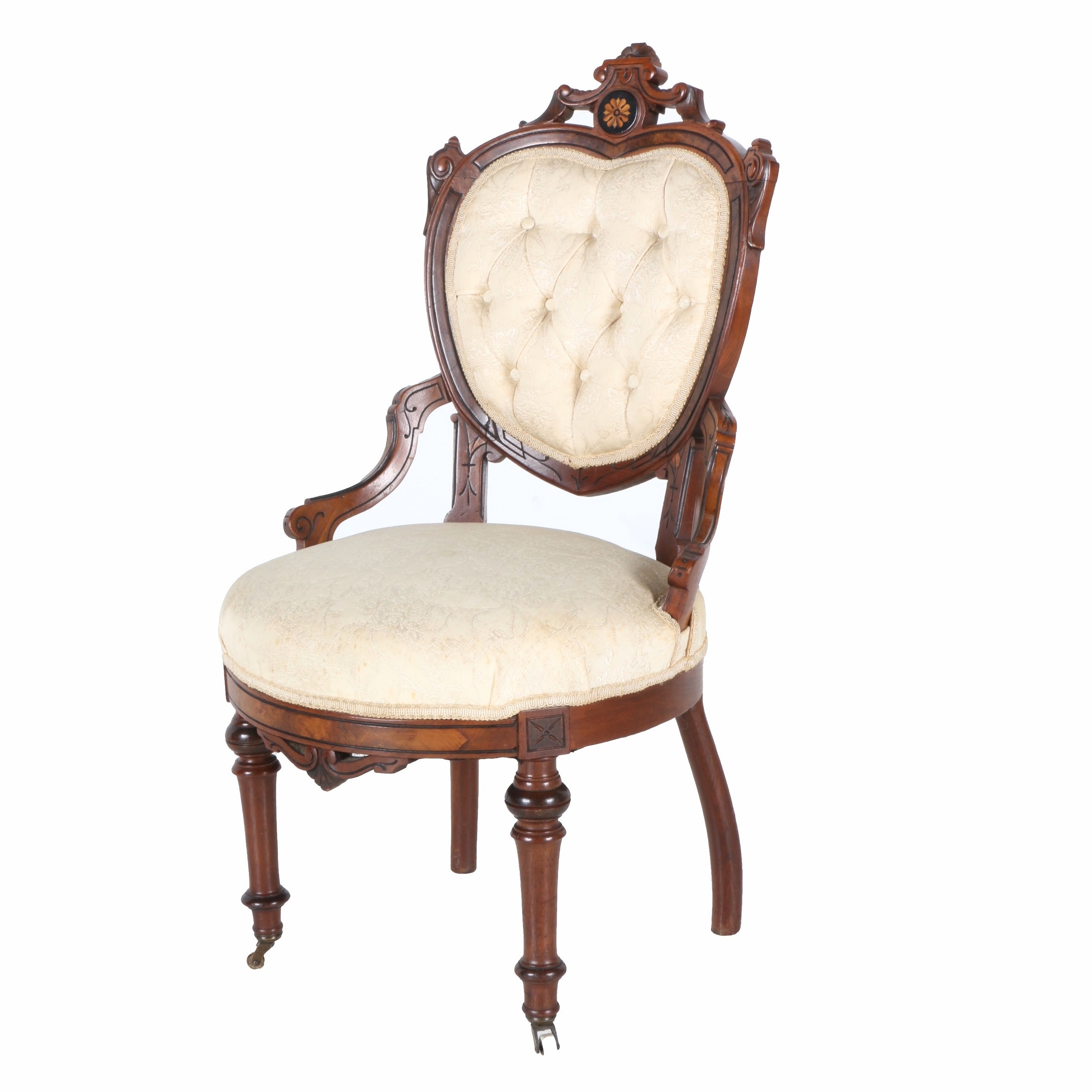 Victorian Parlor Chair With Heart Shaped Back In Beige Upholstery ...