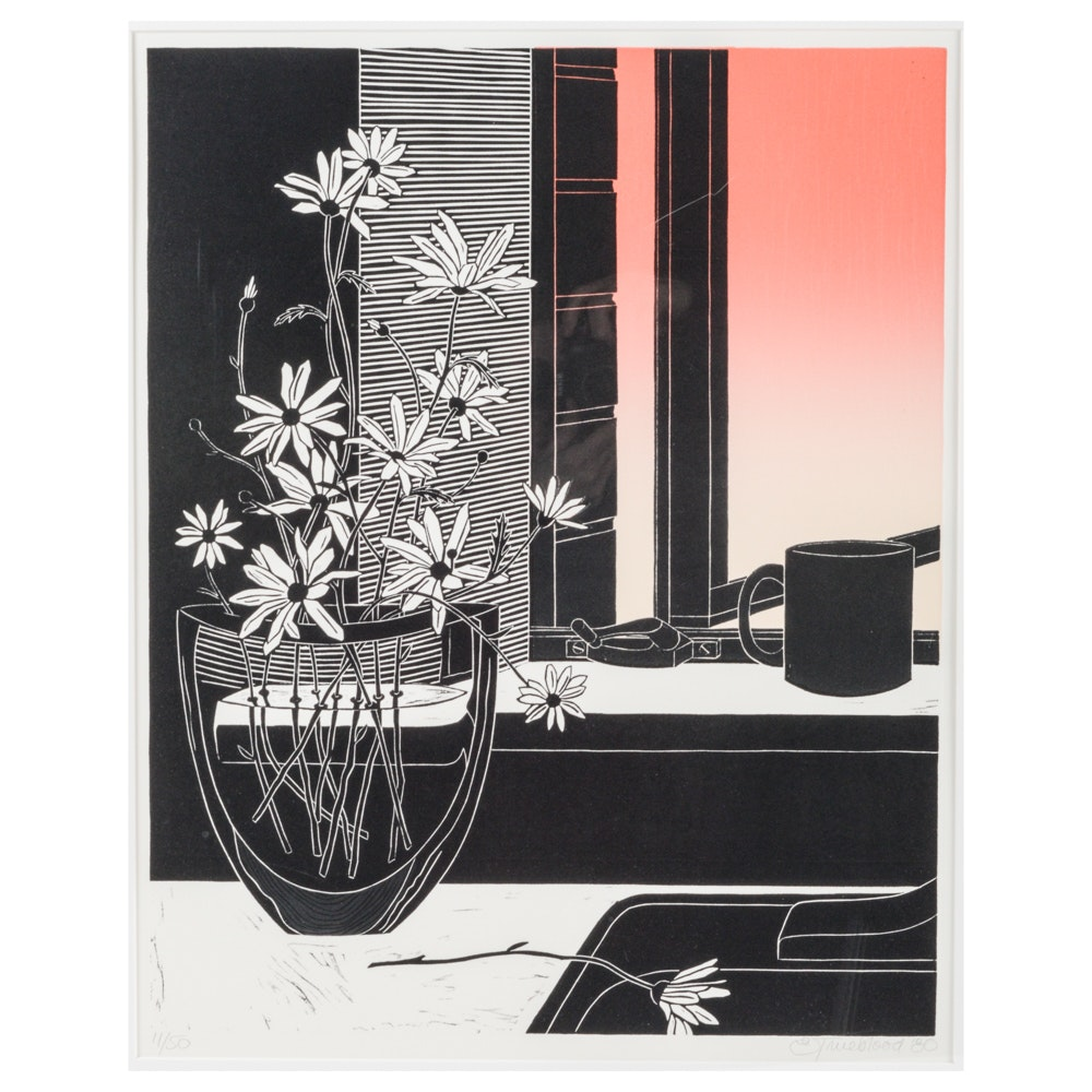 Emily Trueblood Artist's Proof Linocut Still-life With Daisies