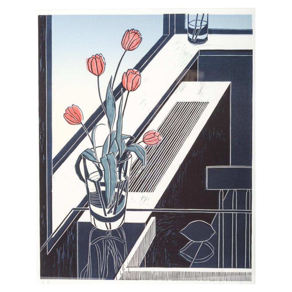 Emily Trueblood Artist's Proof Linocut Still-life With Tulips