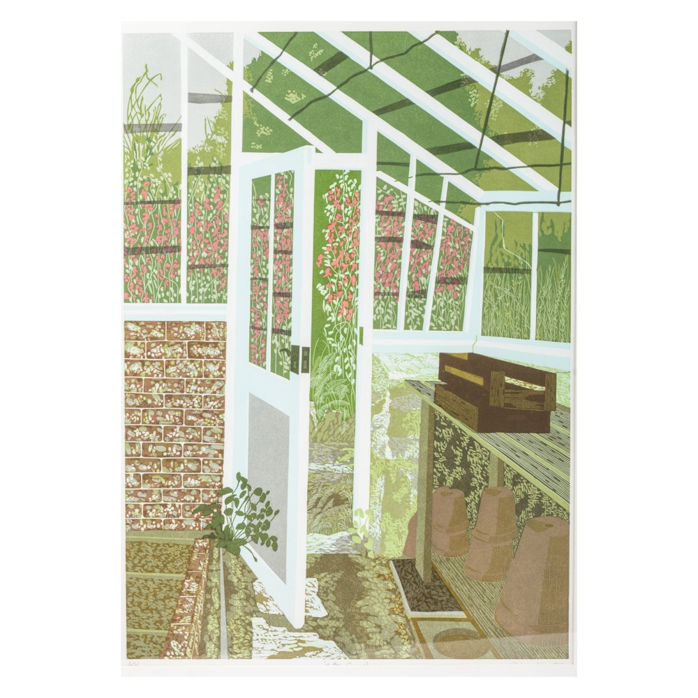 """S. King Limited Edition Color Lithograph """"In the Greenhouse"""""""