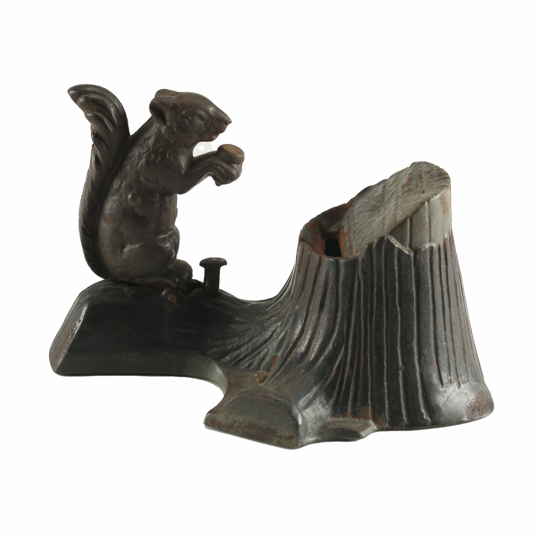 Cast Iron Figural Squirrel and Tree Stump Mechanical Bank