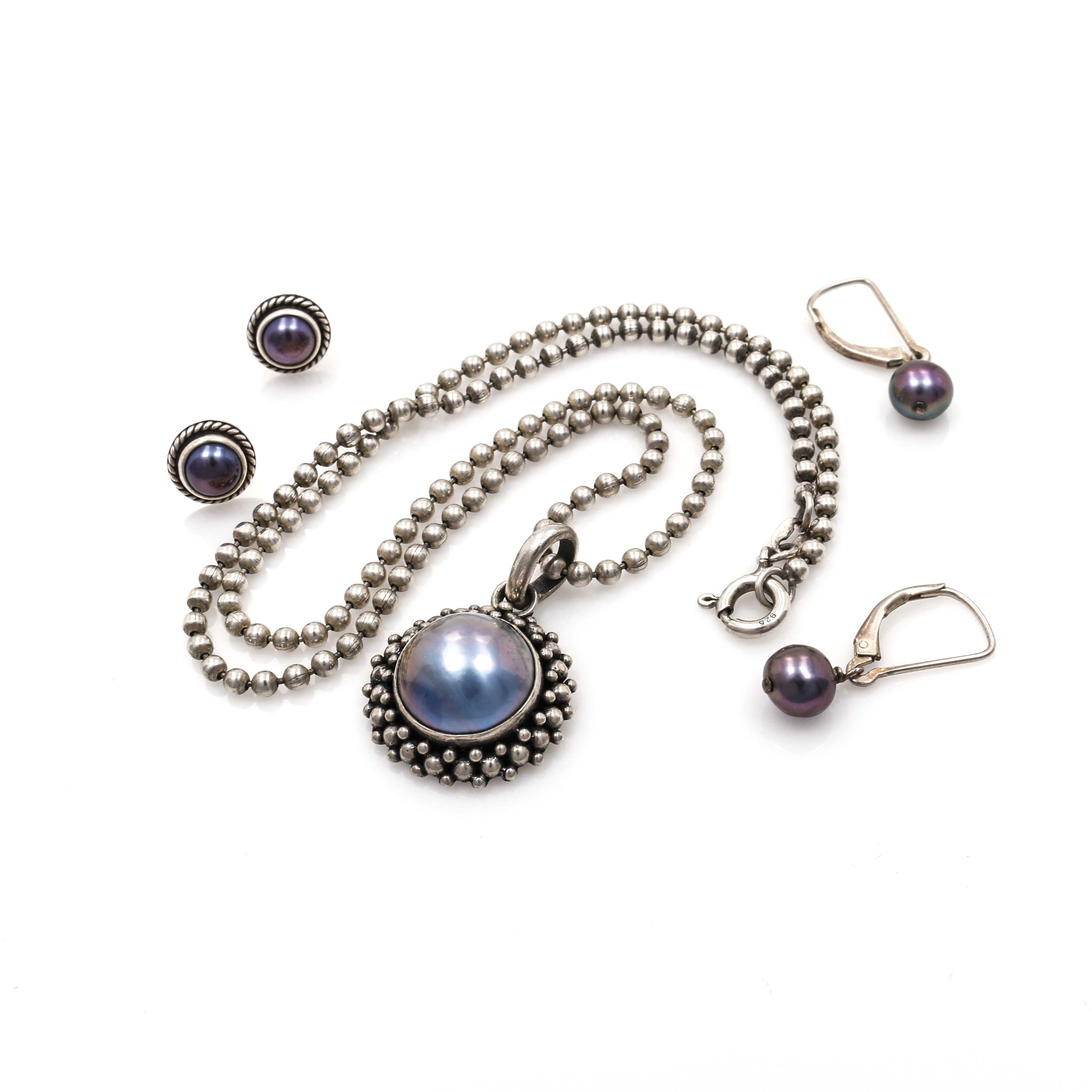Assortment of Sterling Silver Jewelry with Cultured and Mabé Pearls