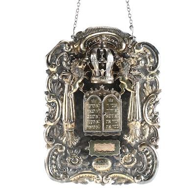19th Century Sterling Silver Russian Torah Shield