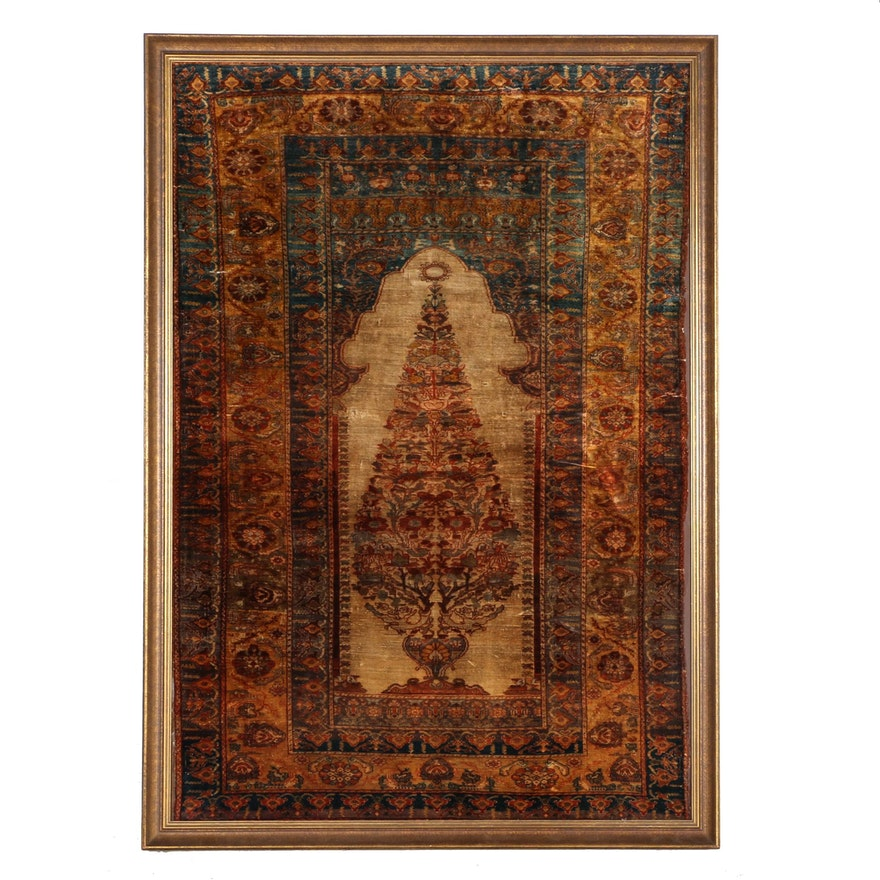 Framed 19th Century Turkish Silk Prayer Rug