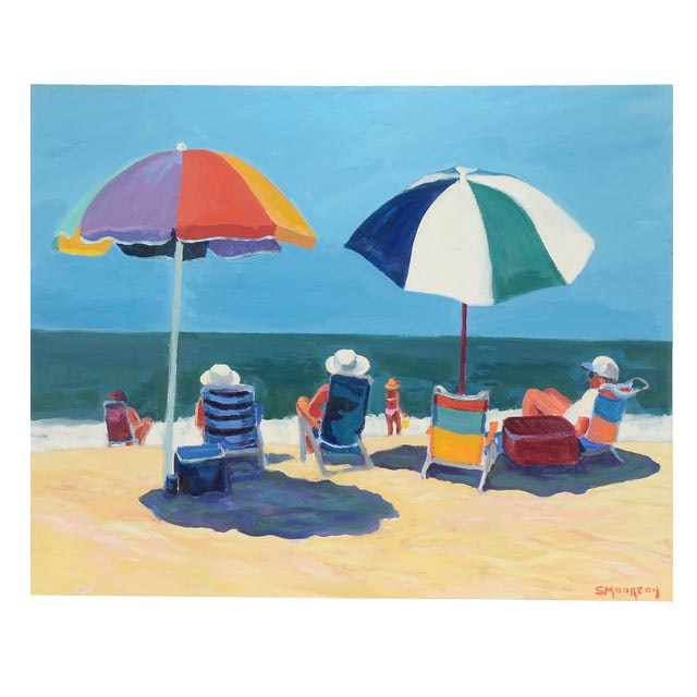 Original Oil Painting on Canvas of Beach Scene