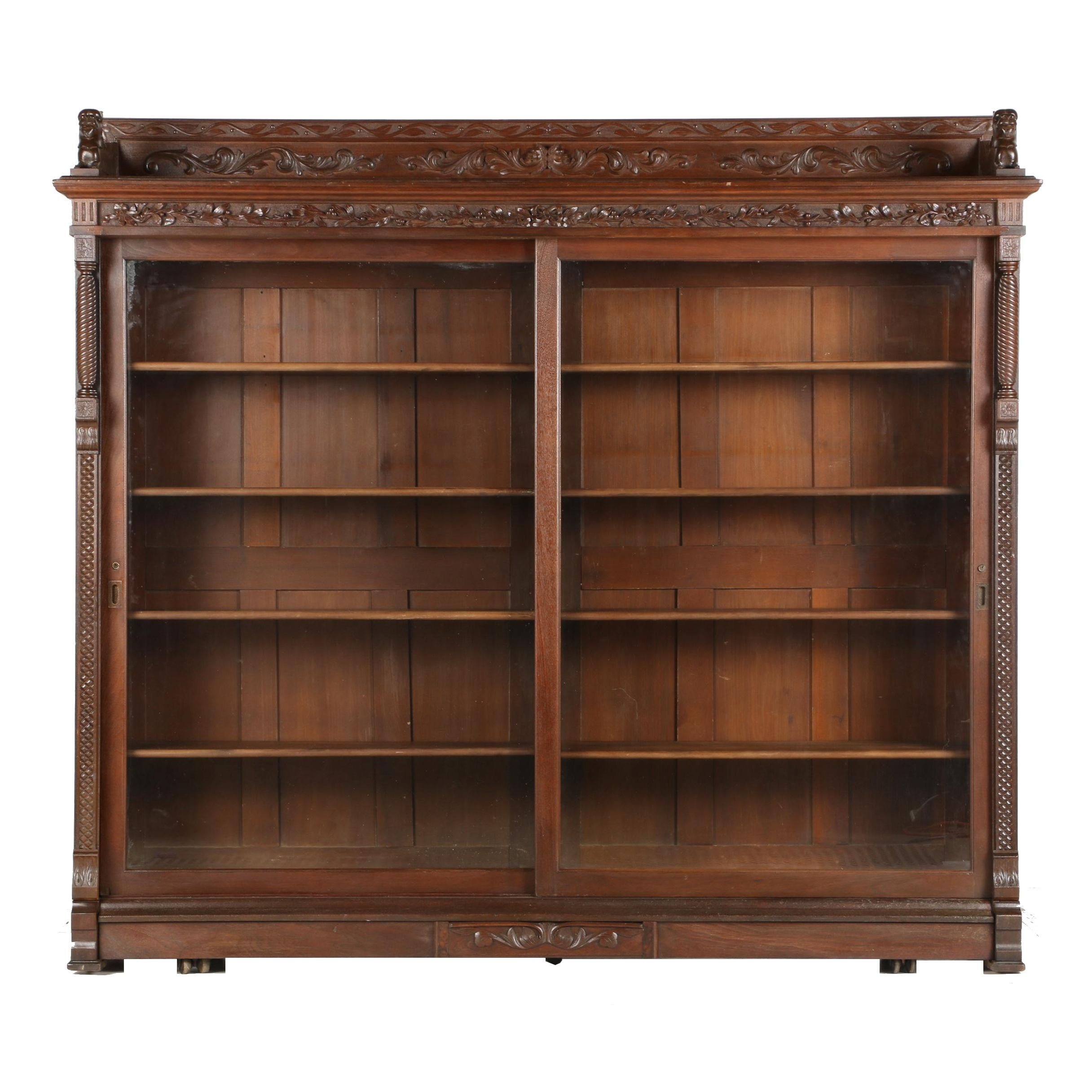 Antique Victorian Glass Front Bookcase