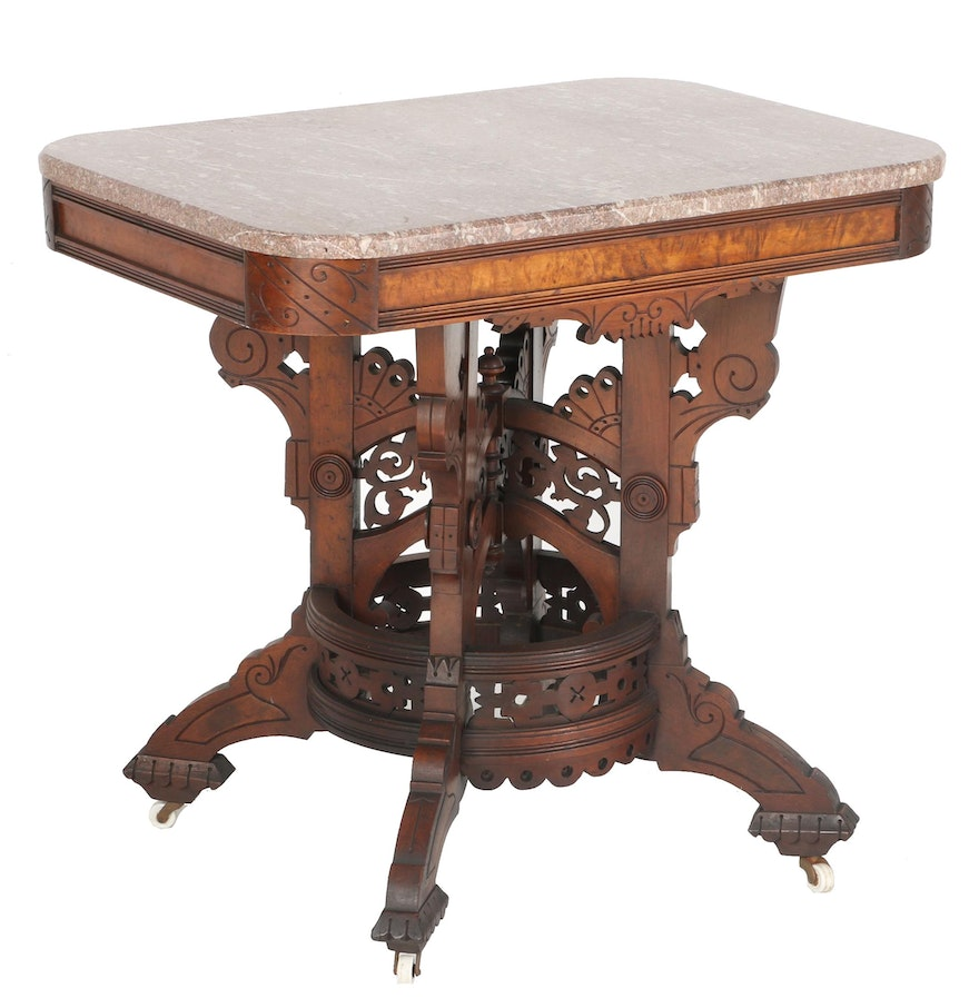 Victorian furniture table - Antique Victorian Marble Top Table