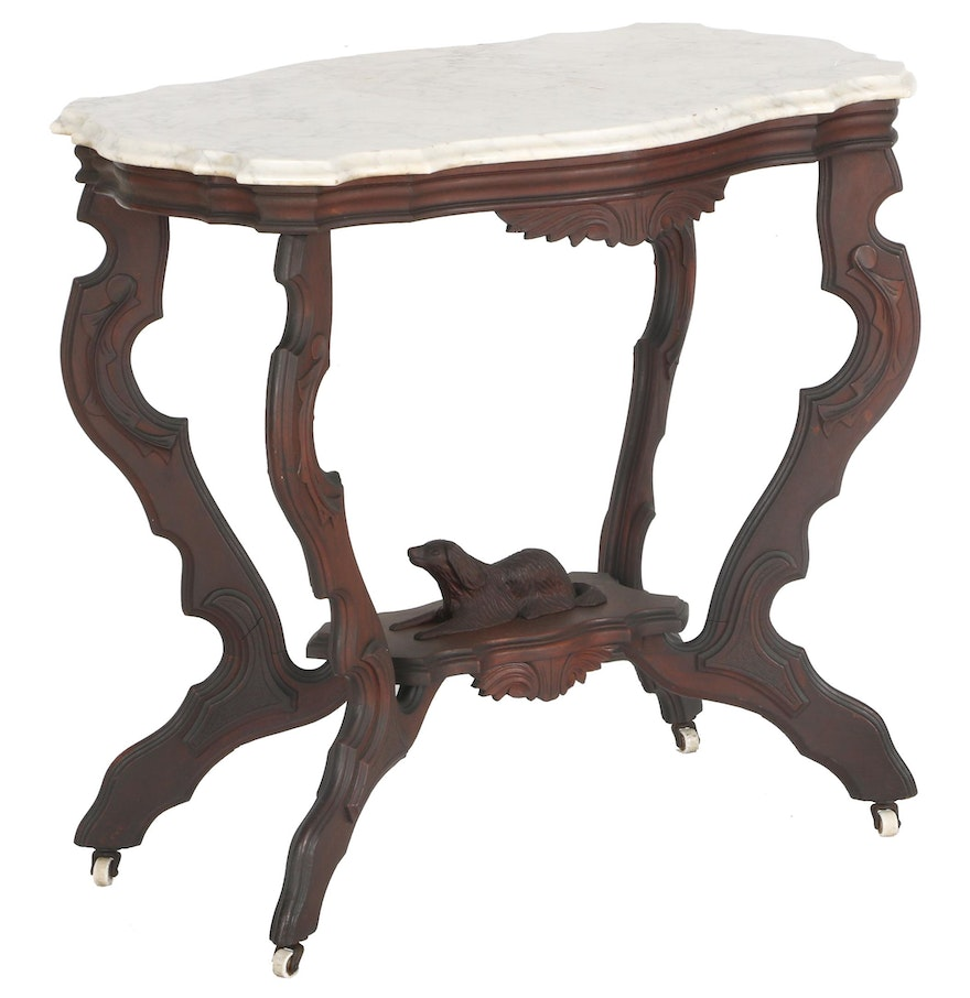 Victorian furniture table - 19th Century Victorian Rococo Revival Parlor Table
