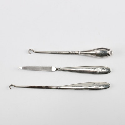 sterling button hooks and nail file featuring crisford norris