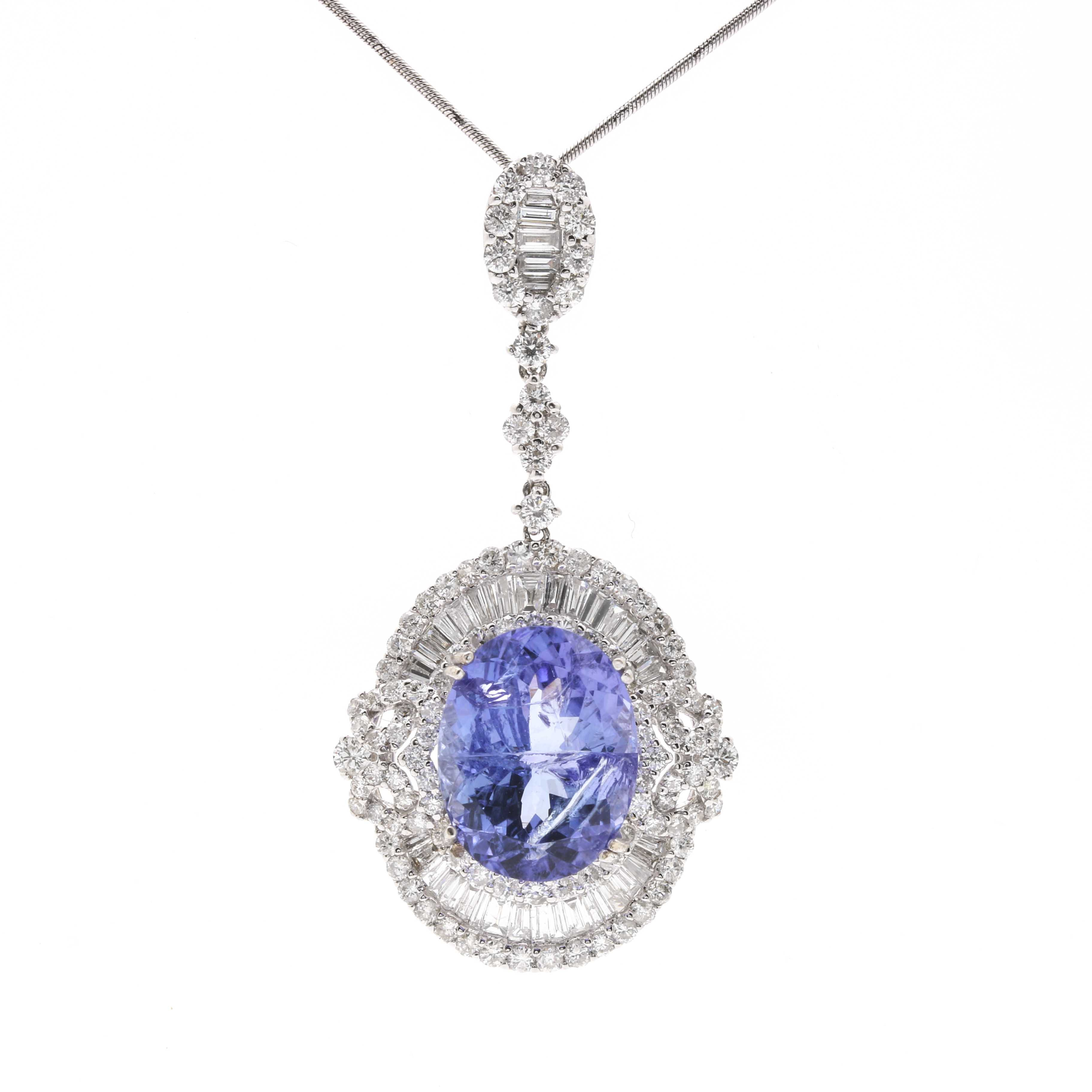 18K White Gold 7.37 CTS Tanzanite and 2.97 CTW Diamond Necklace