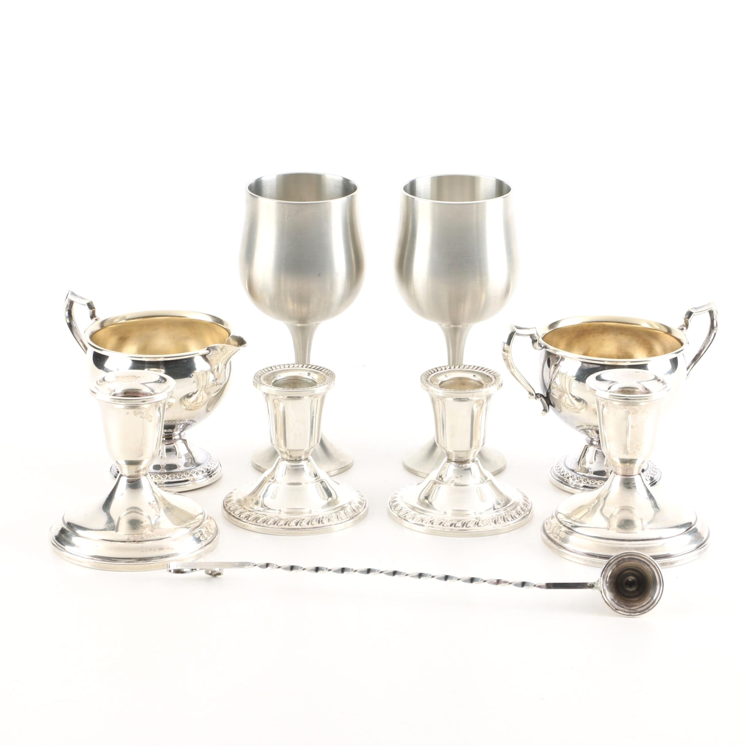 Weighted Sterling and Pewter Tableware Featuring Towle