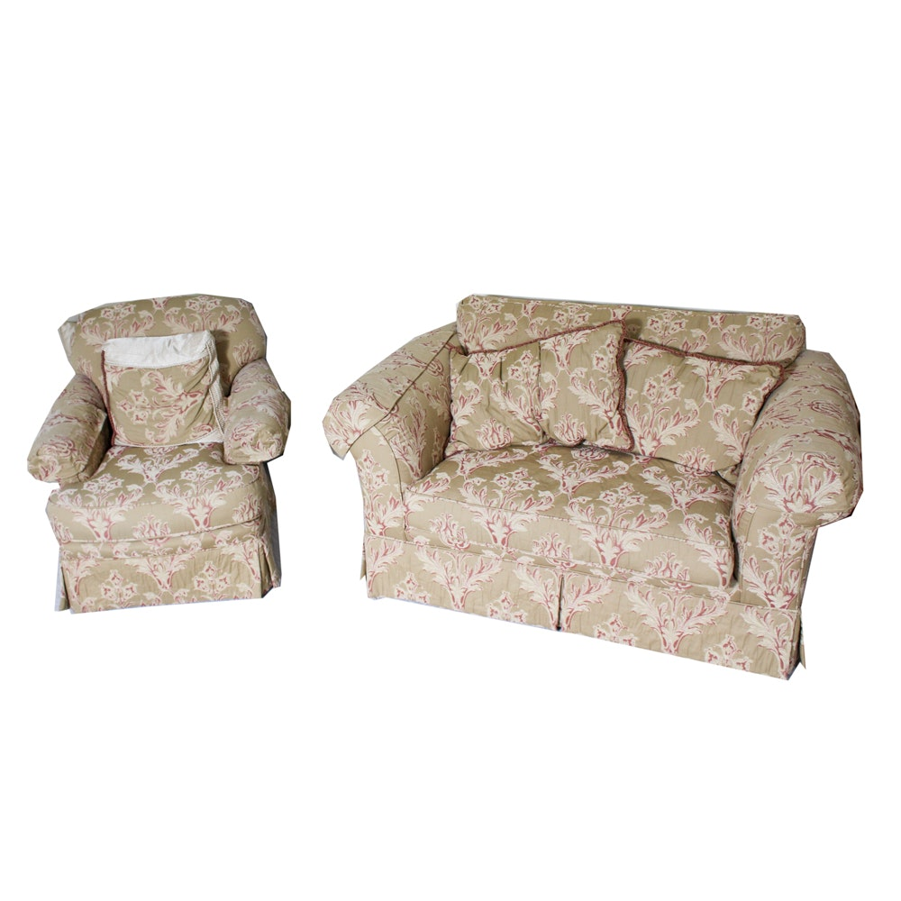 Custom Upholstered Damask Love Seat and Chair
