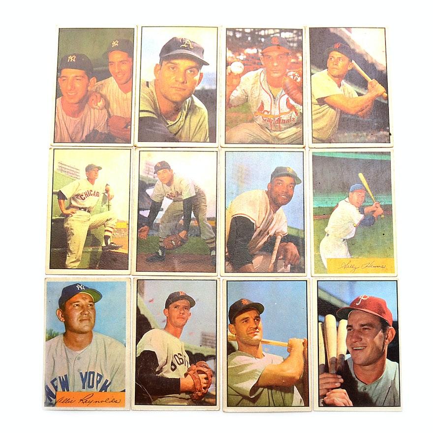 Twelve 1953 Bowman Baseball Cards With Hof Players
