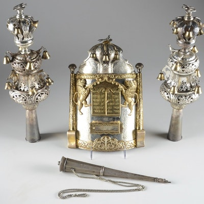 Exquisite Russian Silver Torah Set