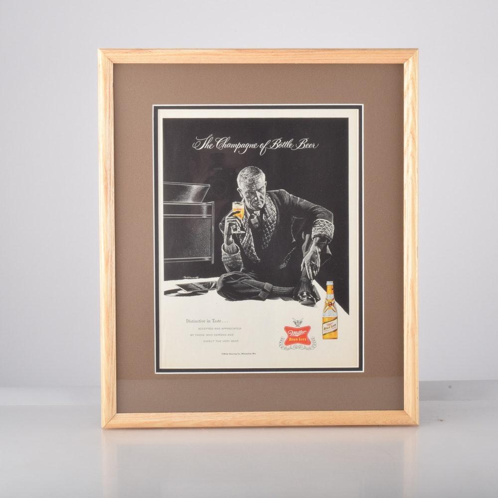1955 Framed Miller High Life Advertisement