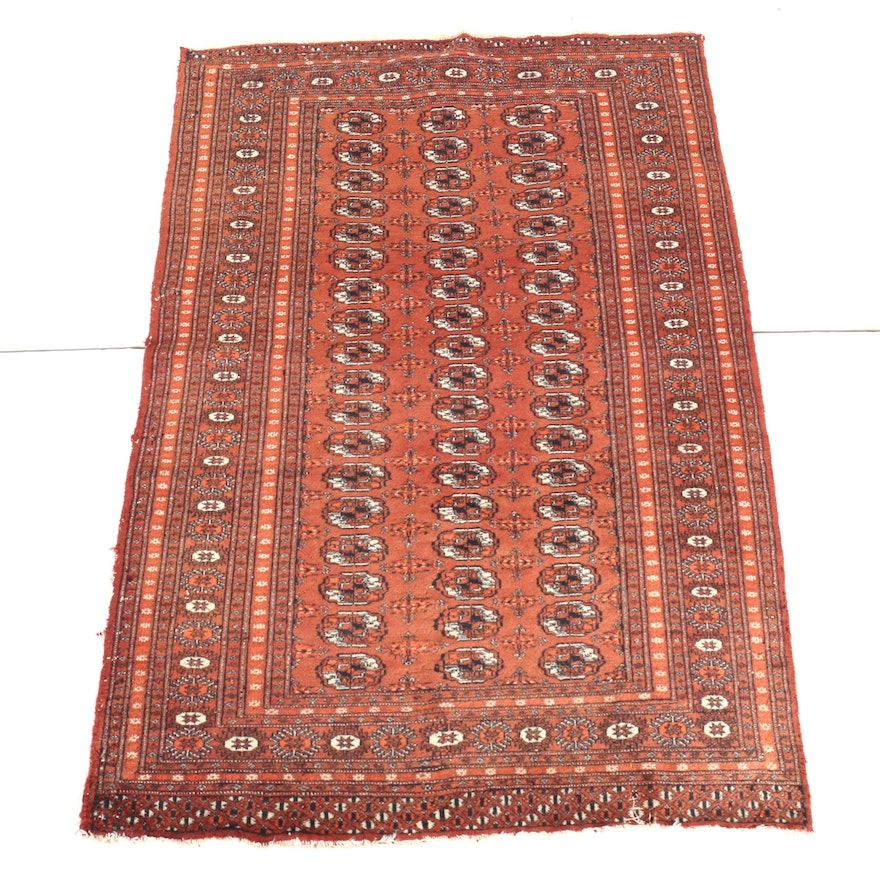 Hand-Knotted Turkmen Bokhara Area Rug