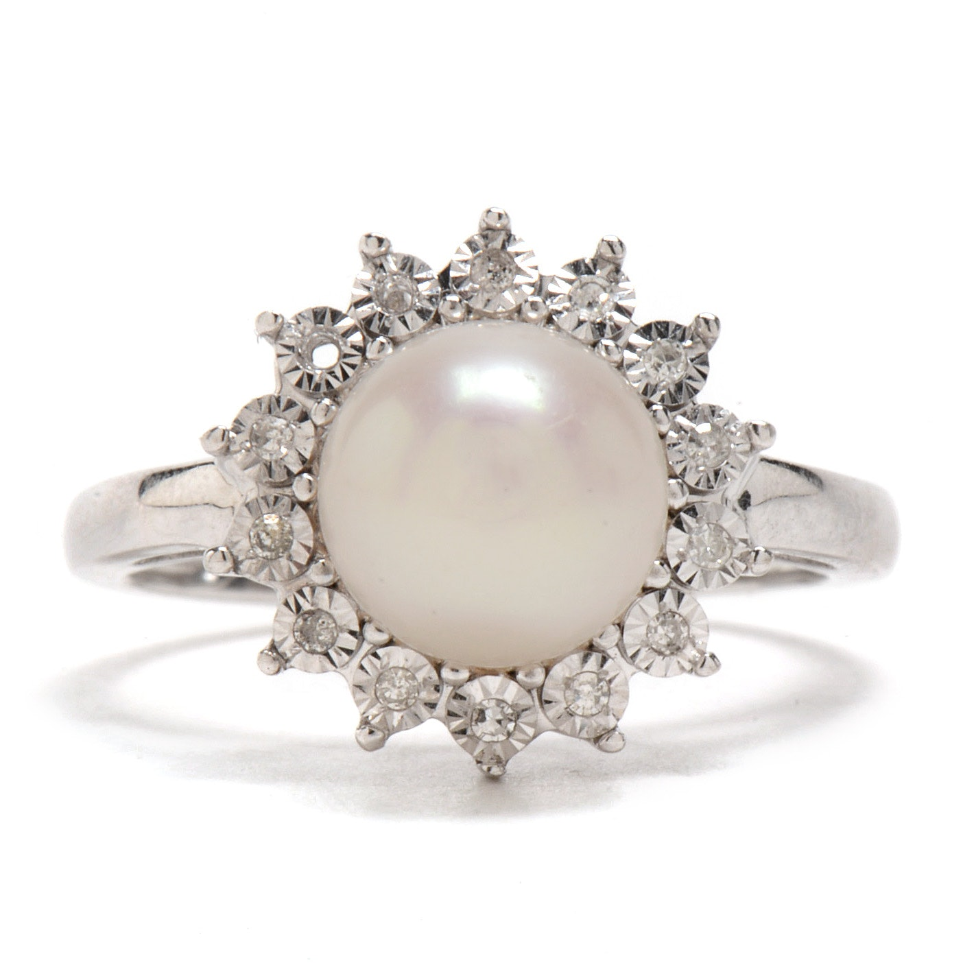 14K White Gold Cultured Pearl Diamond Cocktail Ring