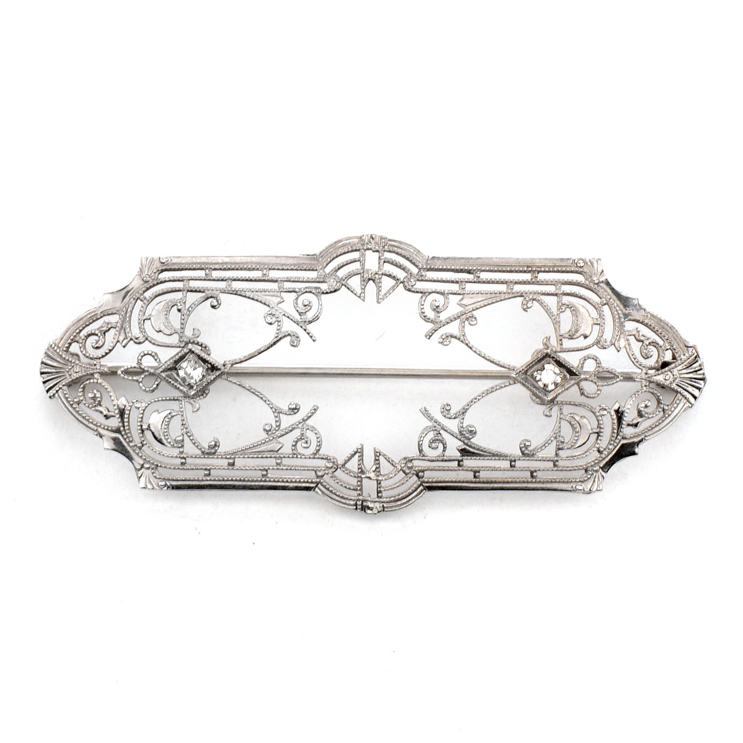 Antique 10K White Gold Filigree Diamond Bar Pin