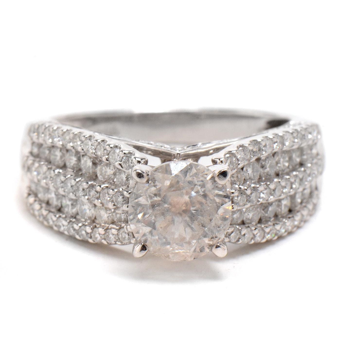 14K White Gold 2.19 CTW Diamond Statement Ring