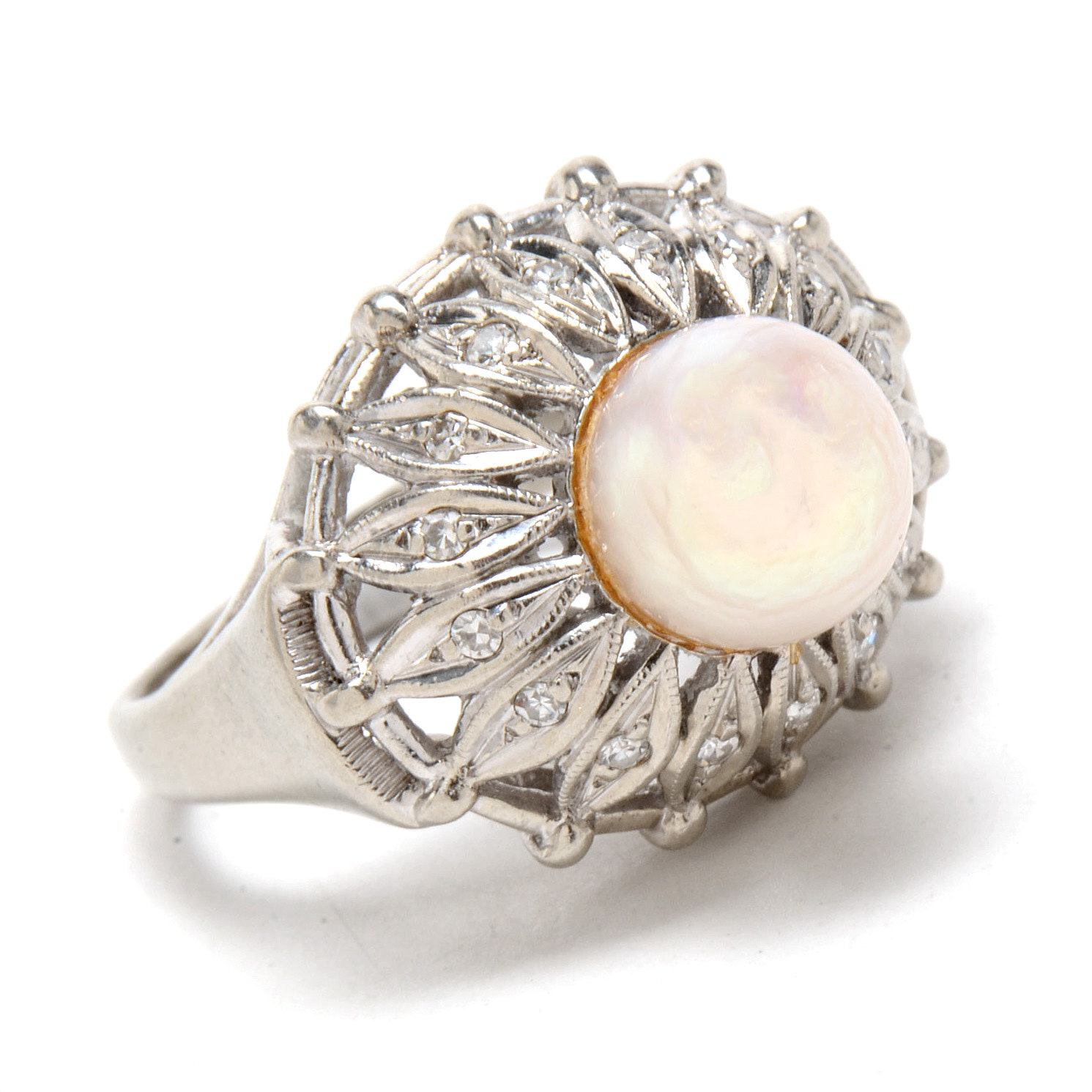 14K White Gold Floral Cultured Pearl Diamond Cocktail Ring