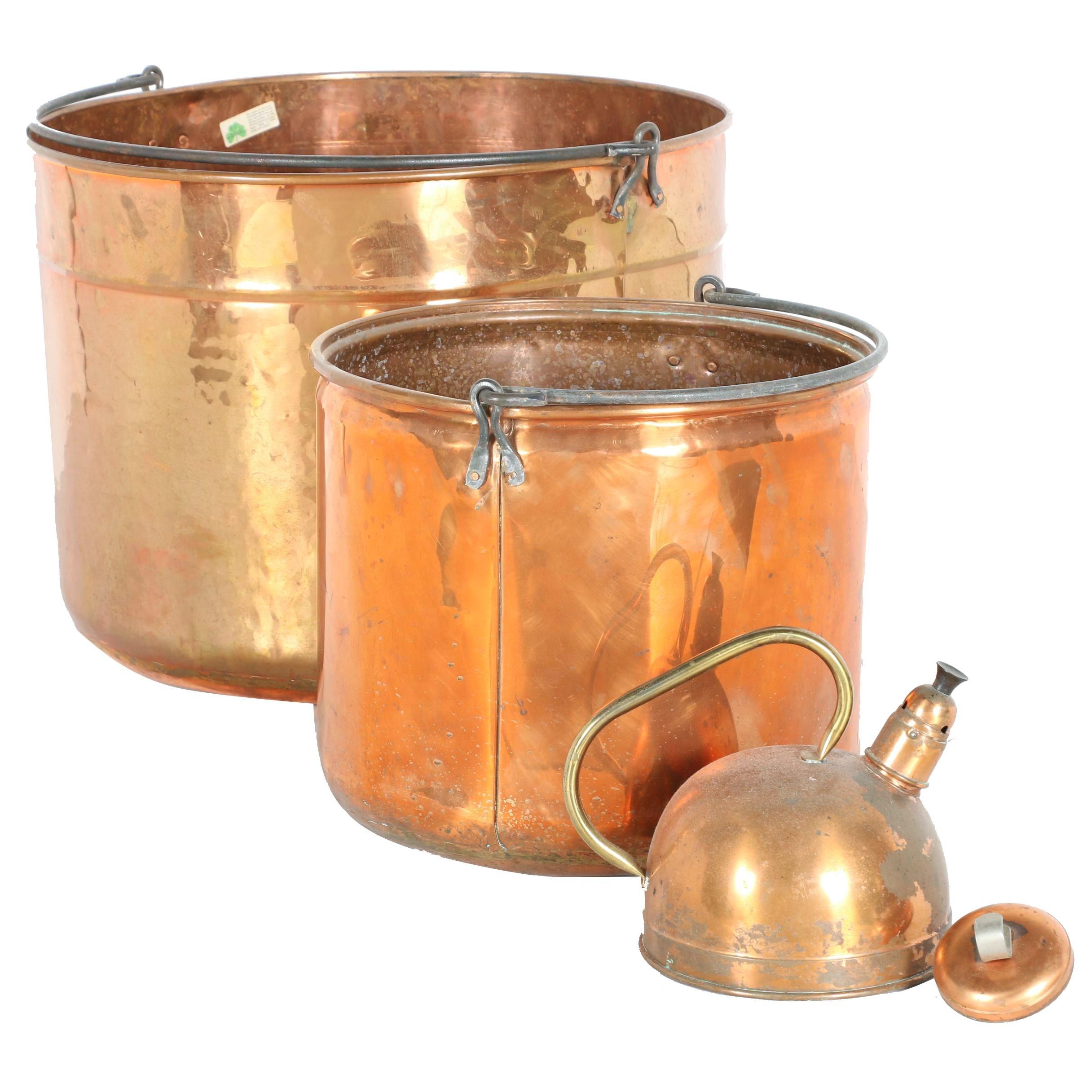 Copper Pots and Tea Kettle