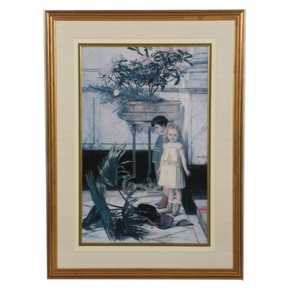 """After Jan Frans Verhas Offset Lithograph of """"Broken Flower Pot"""""""