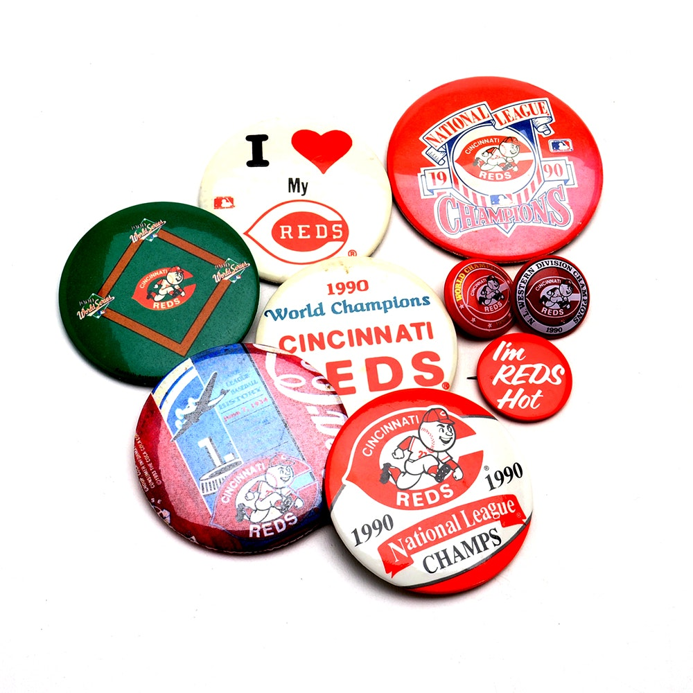 Nine Cincinnati Reds Baseball Pinsbacks
